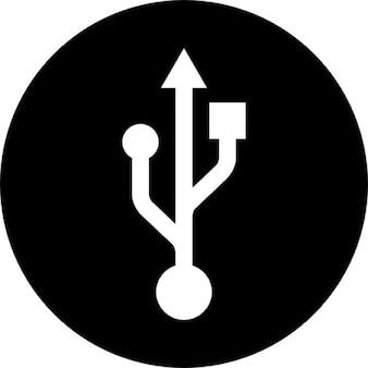 Usb-interface cirkelvormige symbool