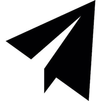 Vliegtuig van papier-interface bericht symbool