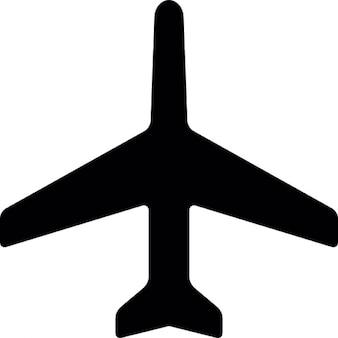 Vliegtuig zwarte silhouet omhoog wijst