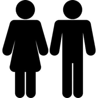 Vrouwelijke en mannelijke vormen silhouetten