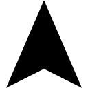 Wandelen driehoekige pijl-interface symbool