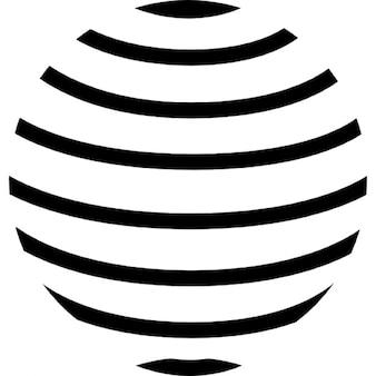 Wereldbol met evenwijdige horizontale lijnen patroon