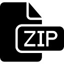Zip-bestand zwart-interface symbool