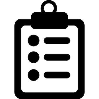 Anotações médicas símbolo de uma lista de papel em uma prancheta