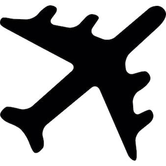 Avião forma preta girada apontando direção superior direito