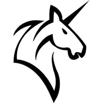 Cabeça cavalo unicórnio com um chifre