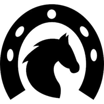 Cabeça de cavalo em uma ferradura