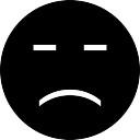 Cara preta triste com os olhos fechados preenchimento símbolo