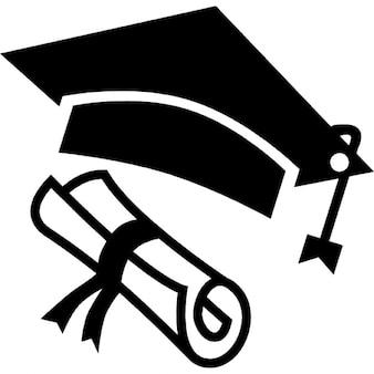 Chapéu e diploma de graduação