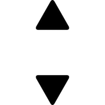 Cima e para baixo setas pequenas triangulares