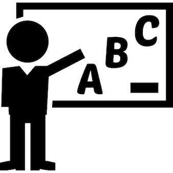 Classe docente professor de gramática em um quadro branco