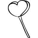 Coração em forma de vara pirulito