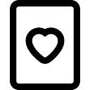 Coração no esboço do cartão de jogo
