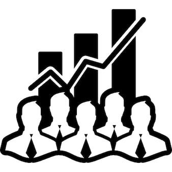 Dados estoque símbolo interface de analytics com empresários e barras de fundo garphic