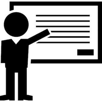 Ensino do professor aula de gramática apontando linhas de texto do quadro branco