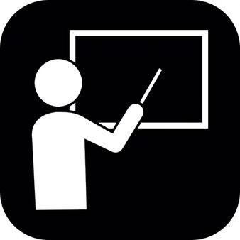 Ensino o professor em um quadro negro em formas brancas dentro de um quadrado preto arredondou