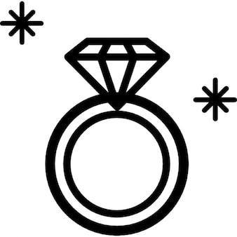 Esboço anel de diamante jóia da vista superior