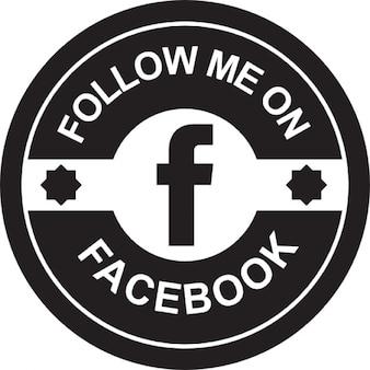 Facebook emblema circular retro sociais