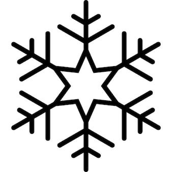 Floco de neve com seis pontos estrela no centro do padrão de linhas formando um hexágono