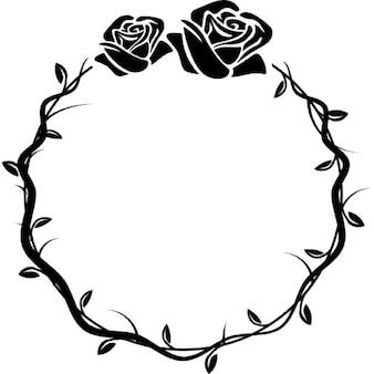 Flores circulares quadro ornamental