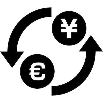 Ienes dólar símbolo troca de dinheiro com círculo setas