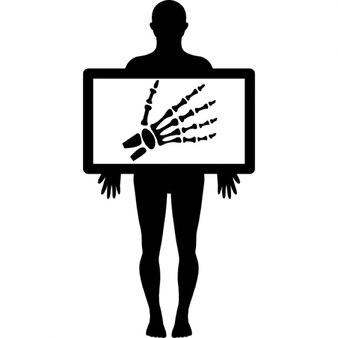 Imagem de raios-x de um homem segurando ossos da mão