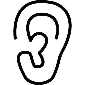Lóbulo da orelha vista lateral esboço