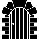 Madeira porta fechada com pedras arco quadro