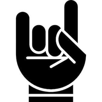 Mão com esboço branco formando uma rocha no símbolo