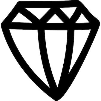 Mão diamante esboço desenhado vista lateral