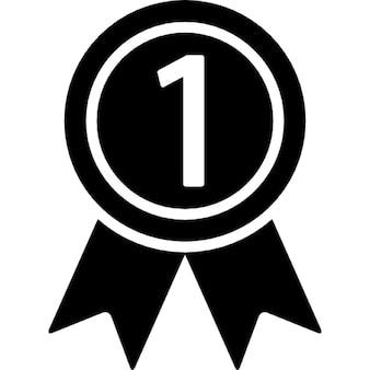 Medalha em uma fita para o número um