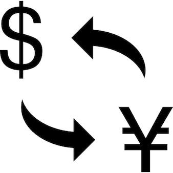 Moedas trocar entre dólares e yens