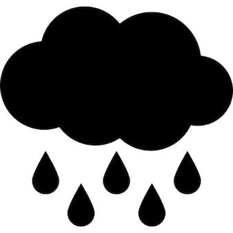 Nuvem de chuva preta com pingos de chuva caindo