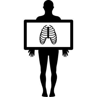 Pé silhueta masculina com visão de raio-x dos pulmões