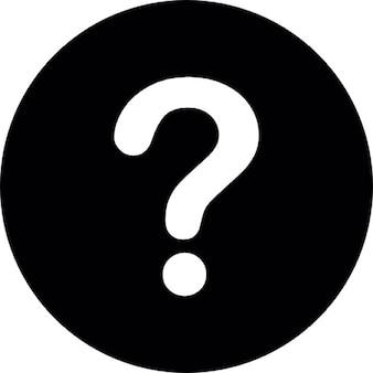 Ponto de interrogação branco sobre um fundo preto circular