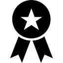 Prêmio símbolo reconhecimento sportive de um emblema com uma estrela e fita caudas