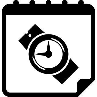 Relógio de pulso na página calendário
