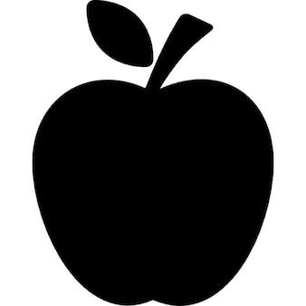 Silhueta negra de maçã com uma folha