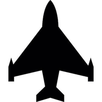 Silhueta transporte avião em forma negra