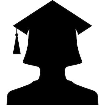 Silhueta universitário fêmea com tampa
