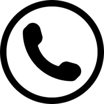 Símbolo de telefone auricular em um círculo