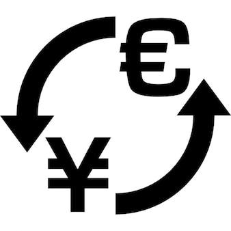 Símbolo de troca de dinheiro euro yen