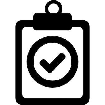 Símbolo verificado positivo de uma prancheta