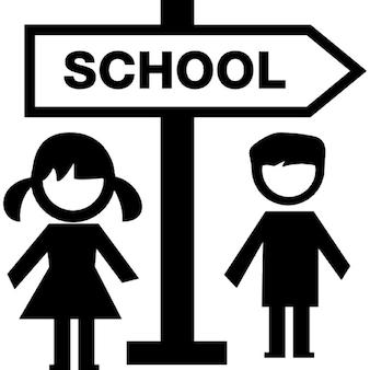 Sinal de escola e as crianças