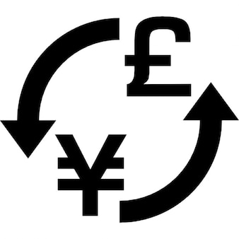 Troca de dinheiro yens libras sinal