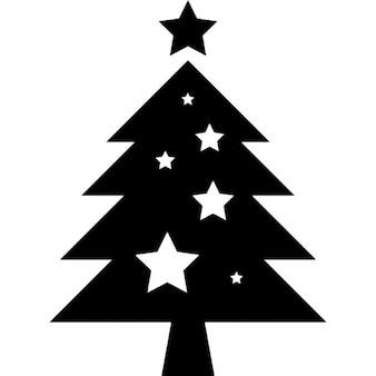 Arbre de Noël avec des ornements étoiles
