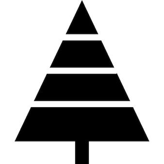 Arbre de Noël de forme triangulaire avec des lignes décoratives horizontales