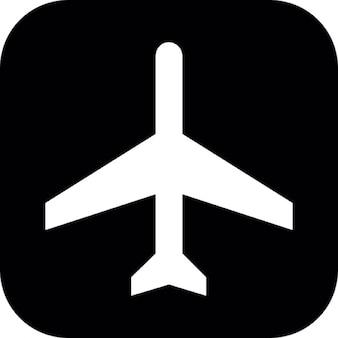 Avion silhouette sur fond carré