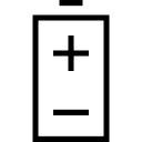 Batterie avec des pôles positifs et négatifs symboles
