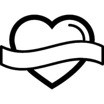 En forme de coeur contour avec l'étiquette de bannière